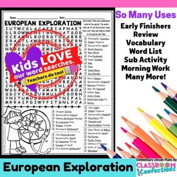 European Explorers Activity: European Exploration Word Search