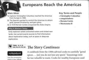 European Explorers Jigsaw Reading Activity with graphic organizer