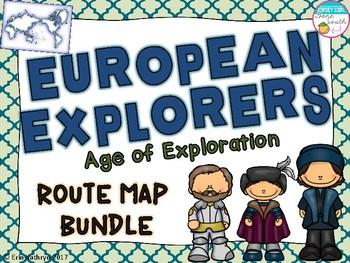 European Explorers Route Map Bundle- Cabot, Hudson, Balboa