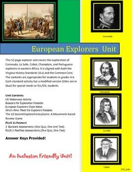 Early European Explorers Unit: Cabot, Champlain, Coronado,