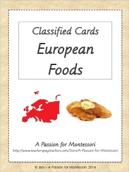 European Foods, Classified Cards, Flash Cards, Europe cont