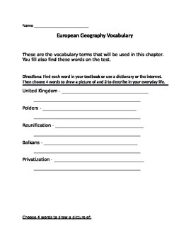 European Geography - Vocabulary