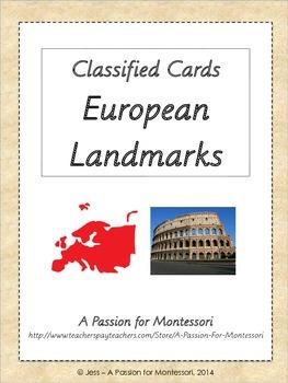 European Landmarks, 20 Classified Cards, Montessori continent box