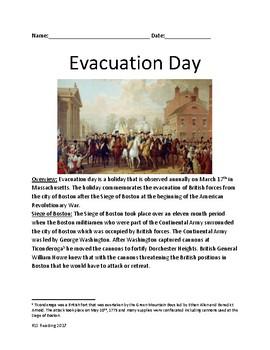 Evacuation Day - Boston March 17th - Siege of Boston lesso