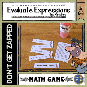 Evaluating Expressions 2 Variables ZAP Math Game