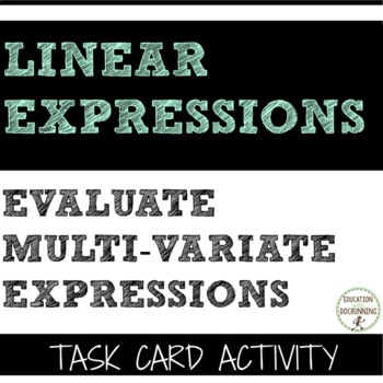 Evaluate Multi-Variable Expression Task Card Activity