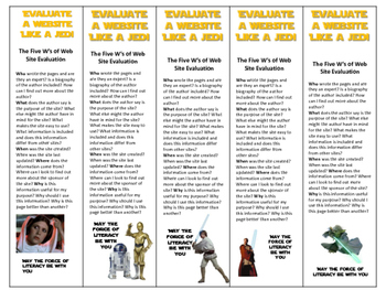 Star Wars Evaluate a website like a jedi bookmarks 10 different