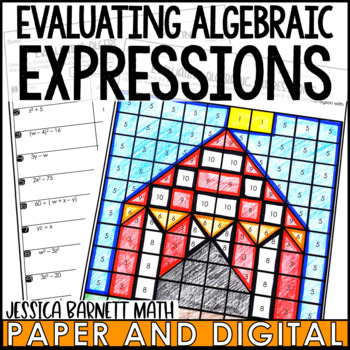 Evaluating Algebraic Expressions Coloring Page Activity