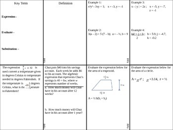 Evaluating Algebraic Expressions Foldable with Fractions a