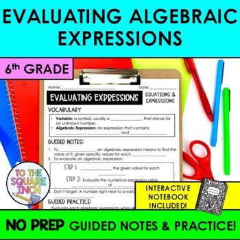 Evaluating Algebraic Expressions Notes