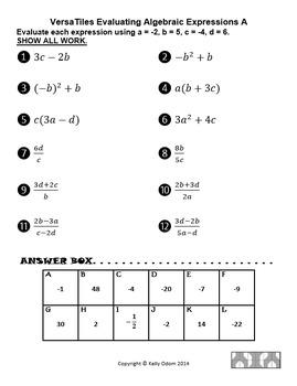 Evaluating Algebraic Expressions and Formulas for VersaTil