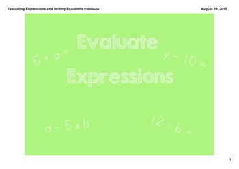 Evaluating Expression & Writing Equations Smartboard Lesson