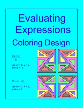 Evaluating Expressions # 1 - Coloring Activity