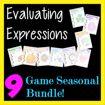 Evaluating Expressions Number Cube Games Bundle - 9 Season