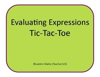 Evaluating Expressions Tic-Tac-Toe