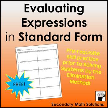 Evaluating Expressions in Standard Form Practice