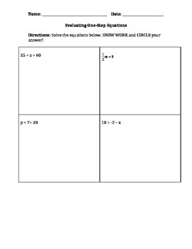 Evaluating One-Step Equations Quiz