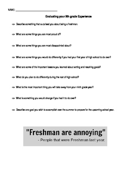 Evaluating Your Freshman Year