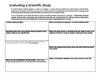 Evaluating a scientific study