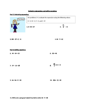 Evaluating expressions and solving equations worksheet