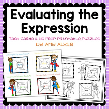 Evaluating the Expression Task Cards & NO PREP Printable Puzzles