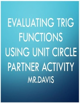 Evaluating trig functions partner activity