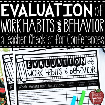 Evaluation of Work Habits and Behavior Checklist for Parents