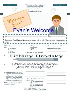 Evan's Welcome Comprehension Test for Reading Treasures gr