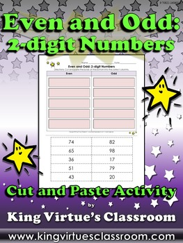 Even and Odd: 2-digit Numbers Cut and Paste Activity #1 -