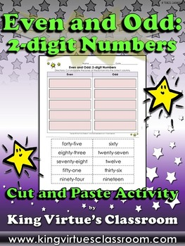 Even and Odd: 2-digit Numbers Cut and Paste Activity #2 -
