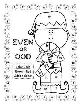 Even and Odd Christmas Color By Number