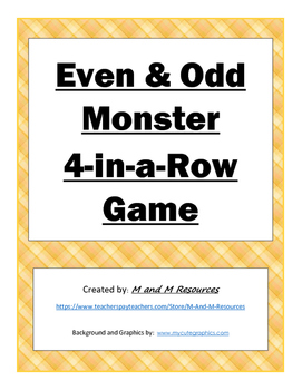 Even and Odd Monster 4-in-a-Row Game FULL COLOR