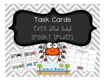 Even and Odd Spooky Spider TASK CARDS