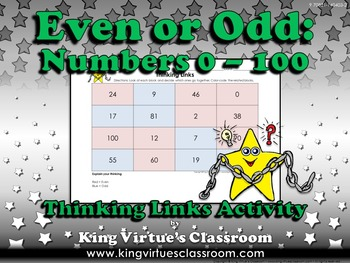 Even or Odd Thinking Links Activity #6 0-100 - King Virtue