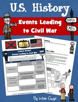events leading up to civil war activity by wise guys teachers pay teachers. Black Bedroom Furniture Sets. Home Design Ideas