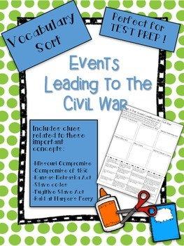 Events Leading to the Civil War Vocabulary Word Sort