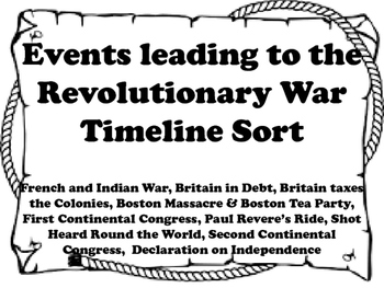 Events Leading to the Revolutionary War Timeline Sort