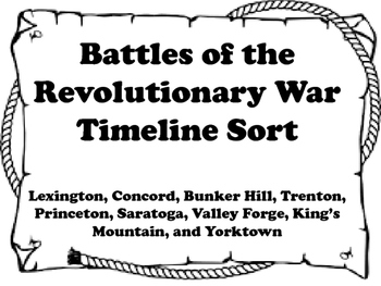 Battles of the Revolution Timeline Sort & Events Leading t