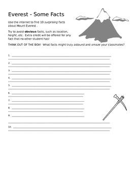 Everest Facts - Internet Hunt