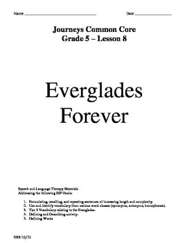 Journeys Common Core 5th- Everglades Forever Supplemental