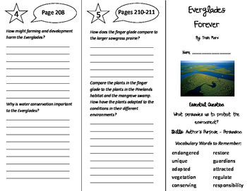 Everglades Forever Trifold - Journeys 5th Grade Unit 2 Wee