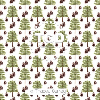 Evergreen Tree and Pine Cone Repeat on White digital paper