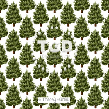 Evergreen Tree Pattern on White digital paper Printable Tr