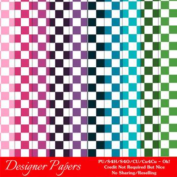 Everyday Colors Checks Pattern Digital Backgrounds pkg 2