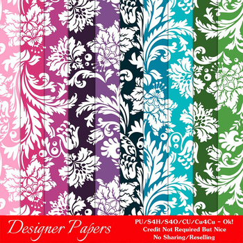Everyday Colors Damask Patterns Digital Papers 2 A4 Size