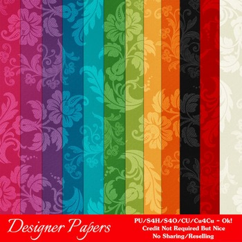 Everyday Colors Floral Pattern Digital Papers package 1