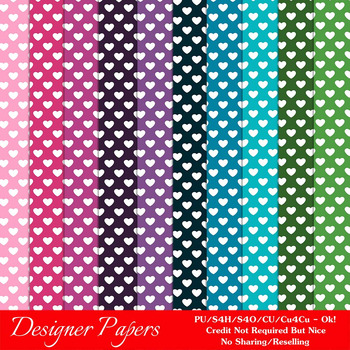 Everyday Colors Hearts Patterns Digital Papers 2 A4 Size