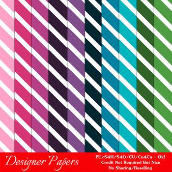 Everyday Colors Stripes Pattern Digital Backgrounds pkg 2