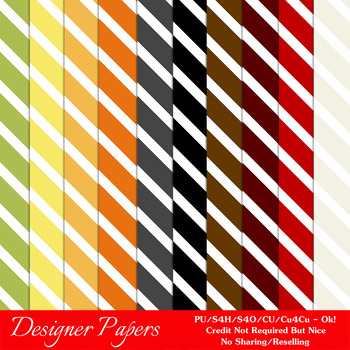 Everyday Colors Stripes Patterns Digital Papers 1 A4 Size