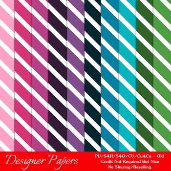 Everyday Colors Stripes Patterns Digital Papers 2 A4 Size